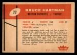 1960 Fleer #77  Bruce Hartman  Back Thumbnail