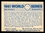 1970 Fleer World Series #58   -  Whitey Ford 1961 Yankees vs. Reds   Back Thumbnail