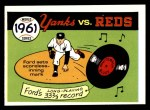 1970 Fleer World Series #58   -  Whitey Ford 1961 Yankees vs. Reds   Front Thumbnail