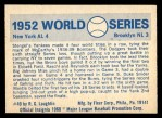 1970 Fleer World Series #49   -  Johnny Mize  / Duke Snider 1952 Yankees vs. Dodgers   Back Thumbnail