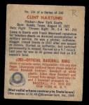 1949 Bowman #154  Clint Hartung  Back Thumbnail