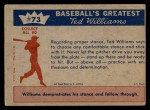 1959 Fleer #73   -  Ted Williams Hitting Fundamentals #3 Back Thumbnail