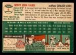 1954 Topps #4 WHT Hank Sauer  Back Thumbnail