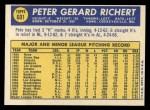 1970 Topps #601  Pete Richert  Back Thumbnail