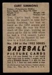 1952 Bowman #184  Curt Simmons  Back Thumbnail