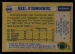 1982 Topps #474  Neil O'Donoghue  Back Thumbnail