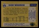1982 Topps #523  Don Warren  Back Thumbnail
