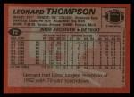 1983 Topps #72  Leonard Thompson  Back Thumbnail