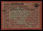 1983 Topps #376  Gary Johnson  Back Thumbnail