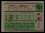 1984 Topps #50  Tom Cousineau  Back Thumbnail