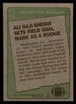 1984 Topps #2   -  Ali Haji-Sheikh Record Breaker Back Thumbnail