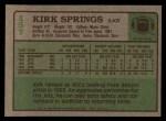 1984 Topps #157  Kirk Springs  Back Thumbnail