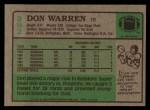 1984 Topps #392  Don Warren  Back Thumbnail