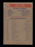 1985 Topps #335   Jets Leaders Back Thumbnail