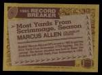1986 Topps #1  Marcus Allen  Back Thumbnail