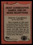 1987 Topps #5   -  Steve Largent Record Breaker Back Thumbnail