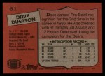 1987 Topps #61  Dave Duerson  Back Thumbnail