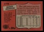 1987 Topps #279  Rickey Jackson  Back Thumbnail