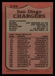 1987 Topps #339   Chargers Leaders Back Thumbnail