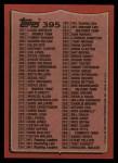1987 Topps #395   Checklist 133-264 Back Thumbnail
