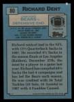 1988 Topps #80  Richard Dent  Back Thumbnail