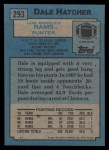 1988 Topps #293  Dale Hatcher  Back Thumbnail