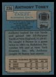 1988 Topps #236  Anthony Toney  Back Thumbnail