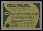 1989 Topps #190  John L. Williams  Back Thumbnail