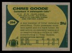 1989 Topps #214  Chris Goode  Back Thumbnail