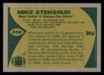 1989 Topps #350  Mike Stensrud  Back Thumbnail