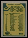 1989 Topps #371   Packers Leaders Back Thumbnail