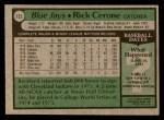 1979 Topps #152  Rick Cerone  Back Thumbnail
