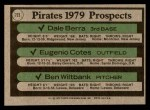 1979 Topps #723   -  Dale Berra / Eugenio Cotes / Ben Wiltbank Pirates Prospects   Back Thumbnail