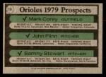 1979 Topps #701   -  Mark Corey / John Flinn / Sammy Stewart Orioles Prospects   Back Thumbnail