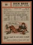 1962 Topps #80  Dick Bass  Back Thumbnail