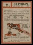 1962 Topps #81  Jim Phillips  Back Thumbnail