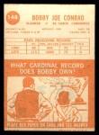 1963 Topps #148  Bobby Joe Conrad  Back Thumbnail