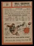 1962 Topps #22  Bill George  Back Thumbnail