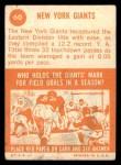 1963 Topps #60   Giants Team Back Thumbnail