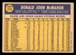 1970 Topps #519  Don McMahon  Back Thumbnail