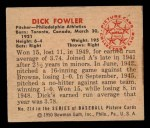 1950 Bowman #214  Dick Fowler  Back Thumbnail