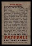 1951 Bowman #75  Russ Meyer  Back Thumbnail