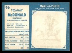 1961 Topps #96  Tommy McDonald  Back Thumbnail