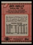 1990 Topps #207  Jim Kelly  Back Thumbnail