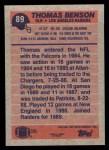 1991 Topps #89  Thomas Benson  Back Thumbnail