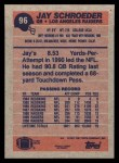 1991 Topps #96  Jay Schroeder  Back Thumbnail
