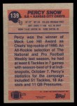 1991 Topps #139  Percy Snow  Back Thumbnail