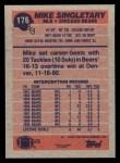 1991 Topps #176  Mike Singletary  Back Thumbnail
