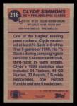 1991 Topps #216  Clyde Simmons  Back Thumbnail