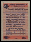 1991 Topps #357  James Washington  Back Thumbnail